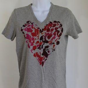 Converse t-shirt grey red pink heart